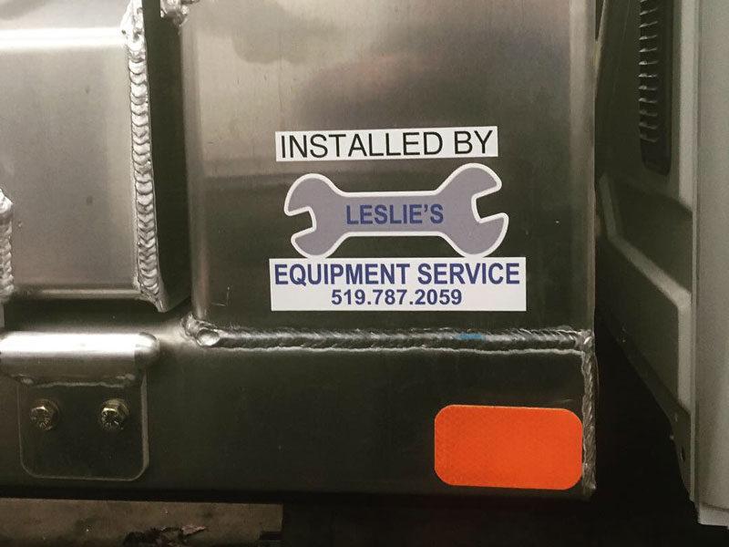 close up Leslie's Equipment logo sticker